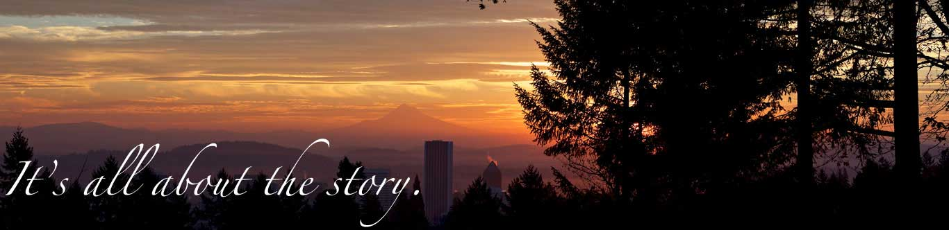 about us hero image - sunrise over Portland and Mt. Hood